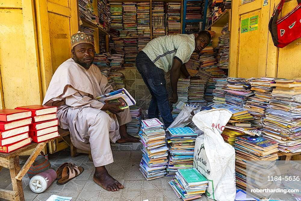 Bookshop in the bazaar, Kano, Kano state, Nigeria, West Africa, Africa