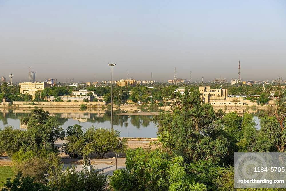 View over the Tigris River and the Green Zone, Baghdad, Iraq, Middle East