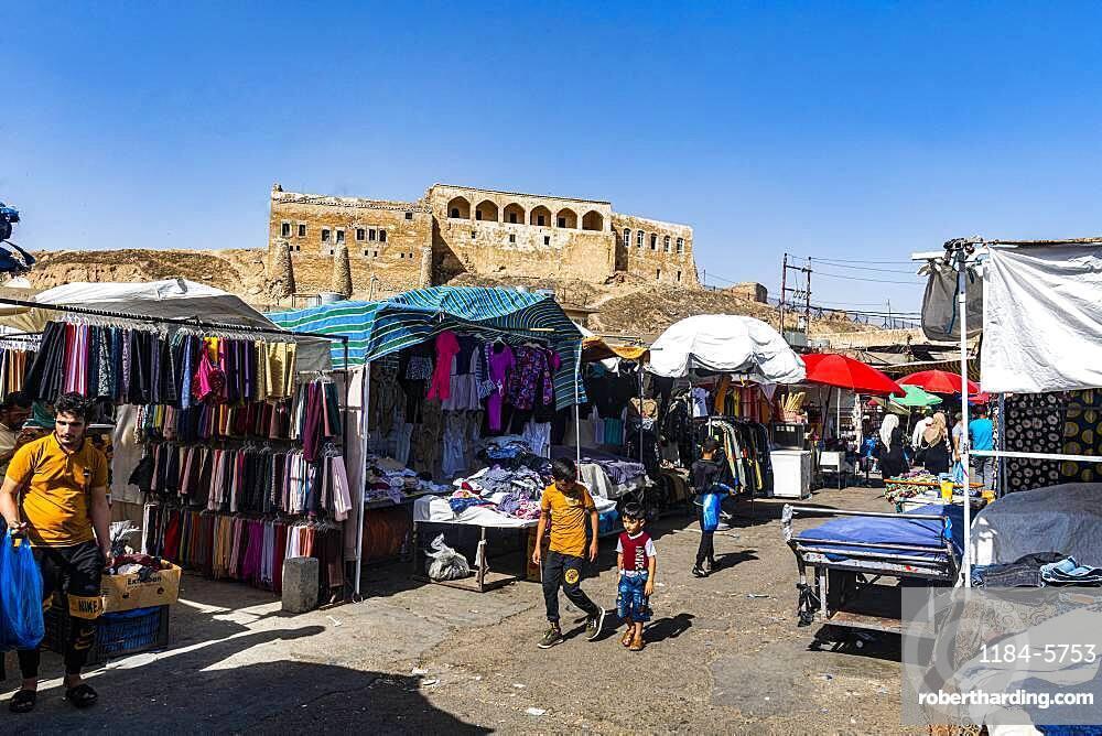 Market below Kirkuk citadel, Kirkuk, Iraq, Middle East