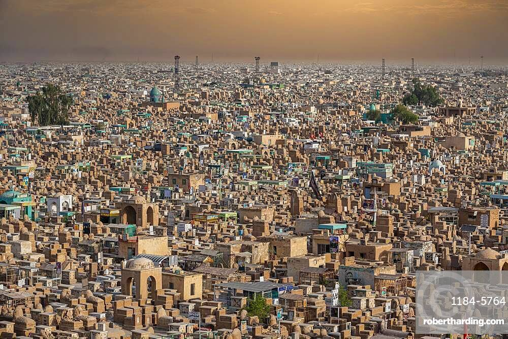View over Wadi Al-Salam (Valley of Peace) Cemetery, Najaf, Iraq, Middle East