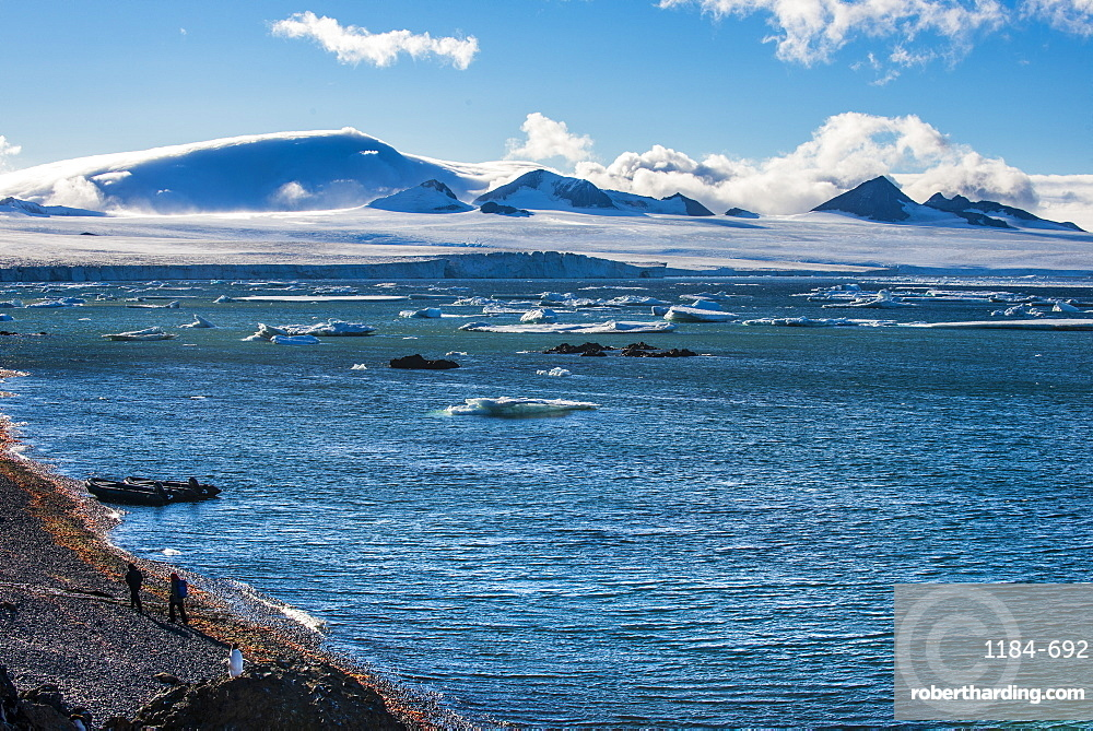 View over icebergs and the glaciers of Brown Bluff, Antarctica, Polar Regions