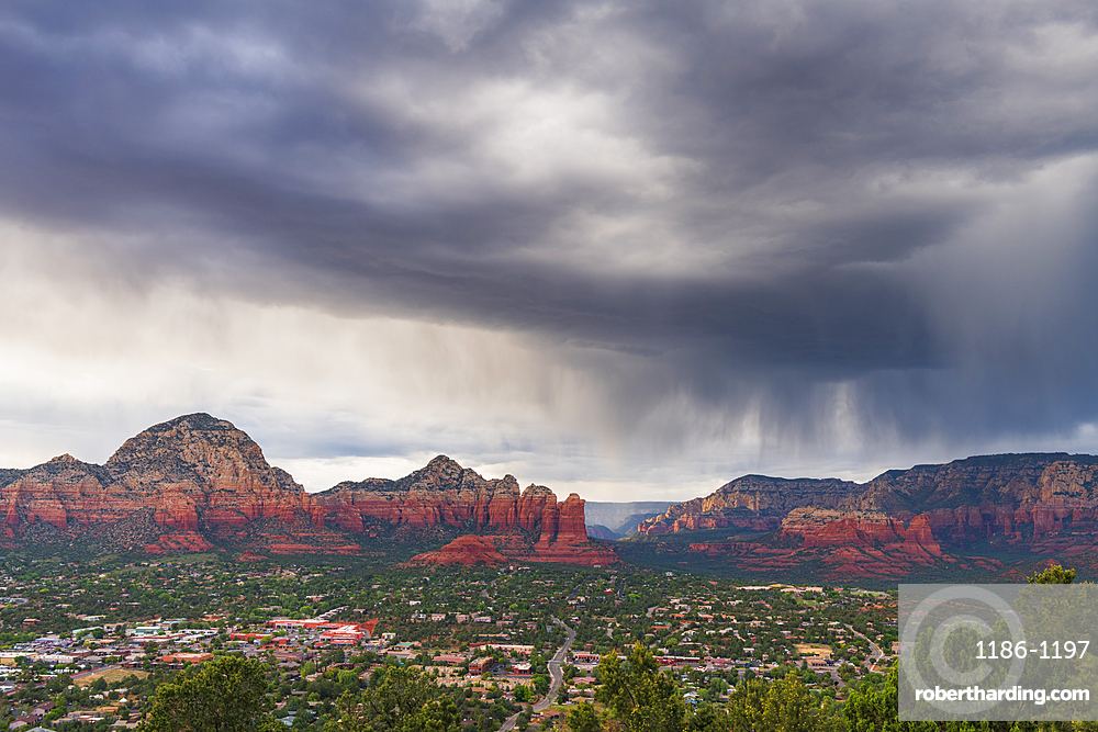 Moody sky over Sedona from Airport Mesa, Sedona, Arizona, United States of America, North America