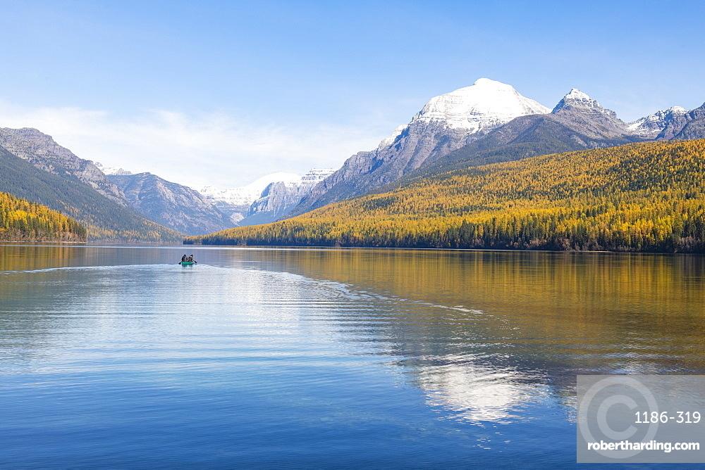 Autumn colours at Bowman Lake, Glacier National Park, Montana, United States of America, North America