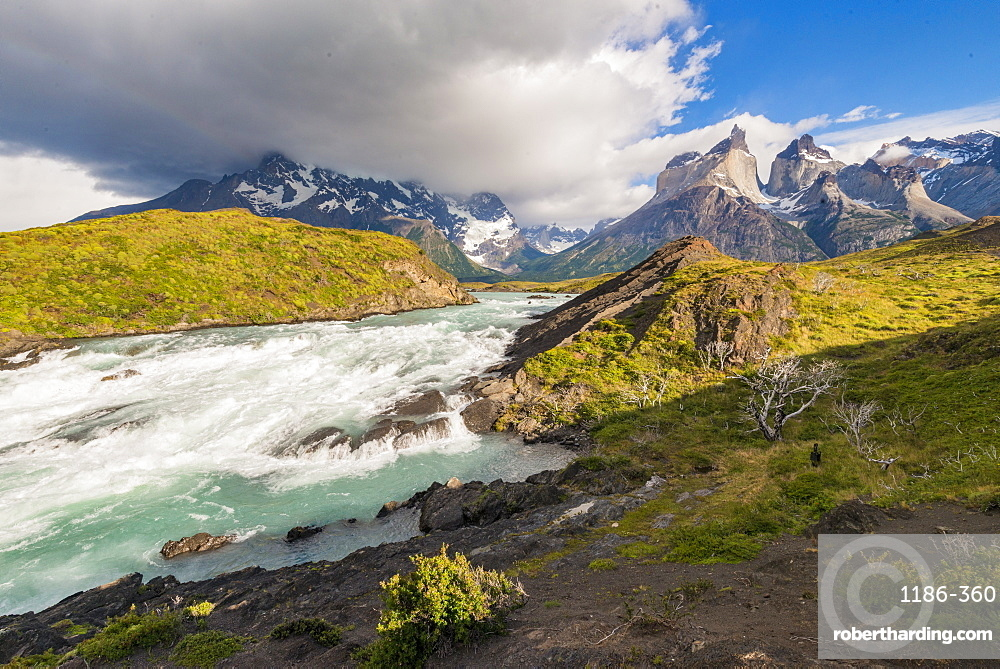 Waterfall at Lake Pehoe, Torres Del Paine National Park, Patagonia, Chile, South America