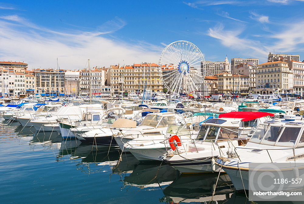 Old port and wheel, Marseille, Bouches du Rhone, Provence, Provence-Alpes-Cote d'Azur, France, Mediterranean, Europe