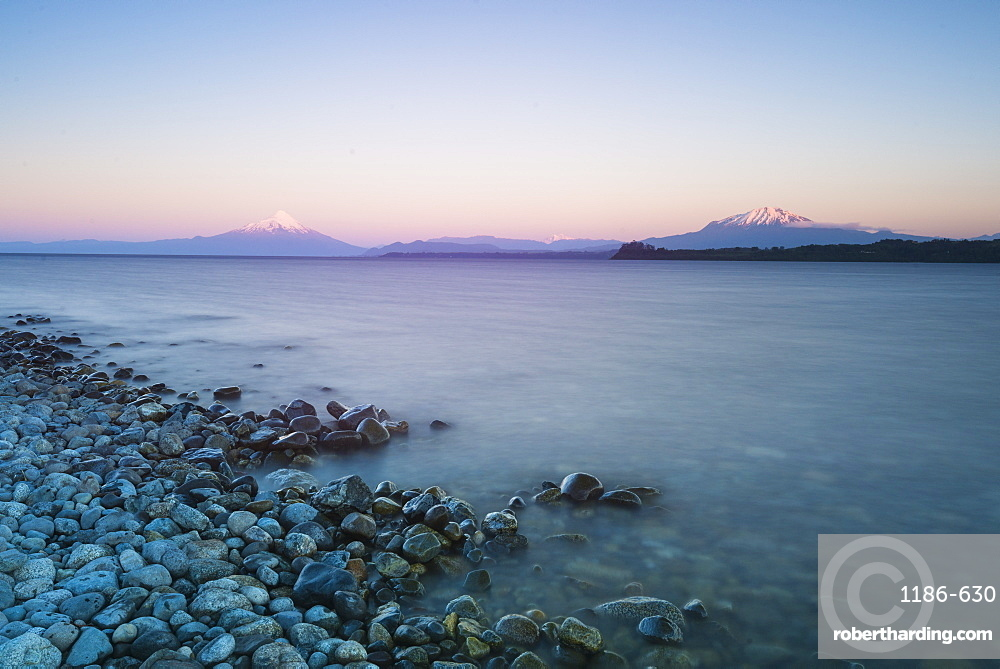 Sunrise over lake Llanquihue and Volcan Osorno, Puerto Varas, Chilean Lake District, Los Lagos, Chile, South America