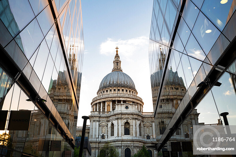 St Paul's Cathedral reflecting in the surrounding buildings