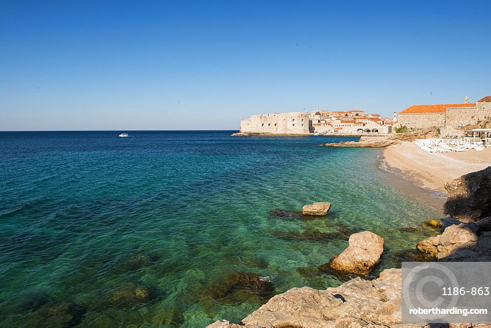 Old town and Banya beach, Dubrovnik, Croatia, Europe