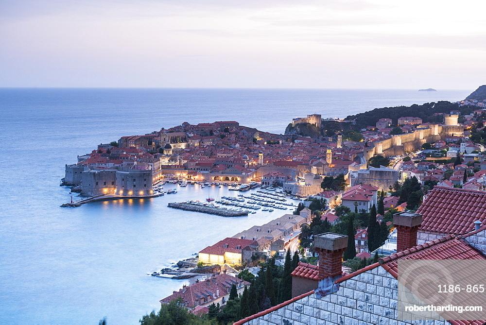 Aerial view of Dubrovnik's old town, UNESCO World Heritage Site, Dubrovnik, Croatia, Europe