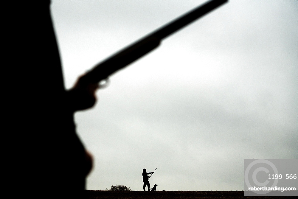 Black and white silhouette image of a gun and his dog, United Kingdom, Europe