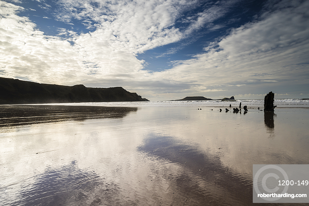 Low tide, sunset, Rhossilli Bay, Gower, South Wales, United Kingdom, Europe