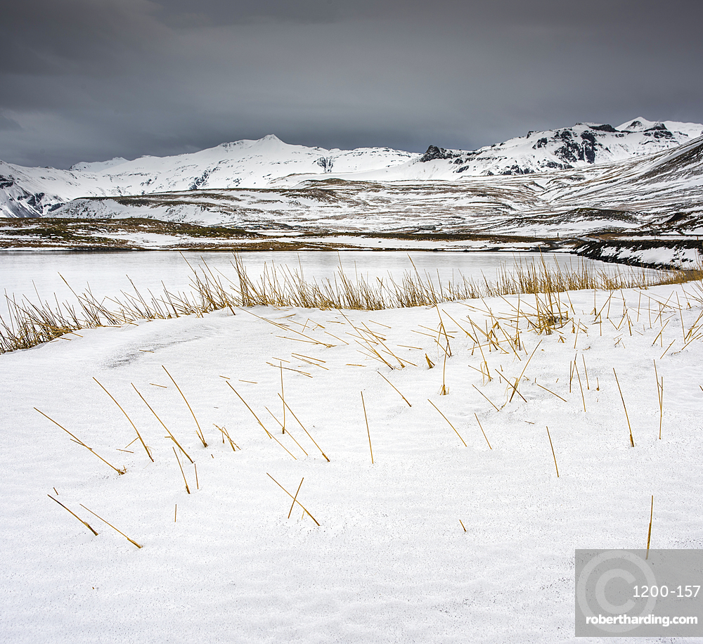 Snow covered fields and mountains, Snaefellsnes, Iceland, Polar Regions