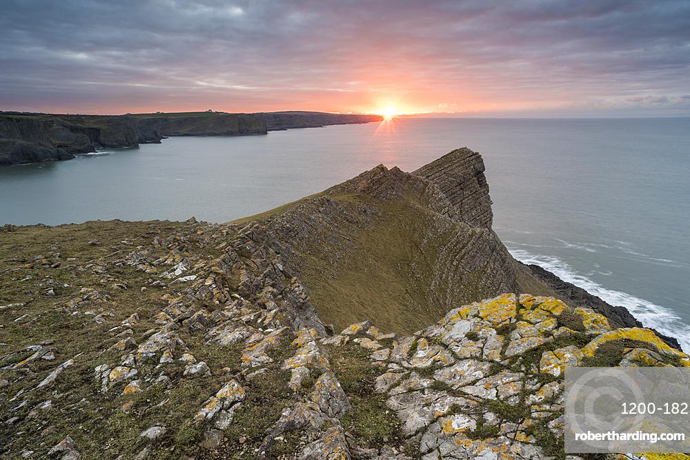 Sunrise over Fall Bay, Gower, South Wales, United Kingdom, Europe