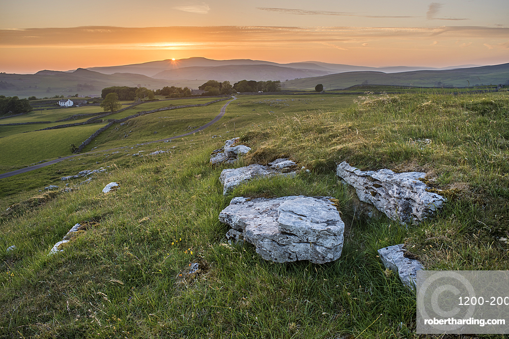 View from Winskill Stones at sunset, Yorkshire Dales, Yorkshire, England, United Kingdom, Europe