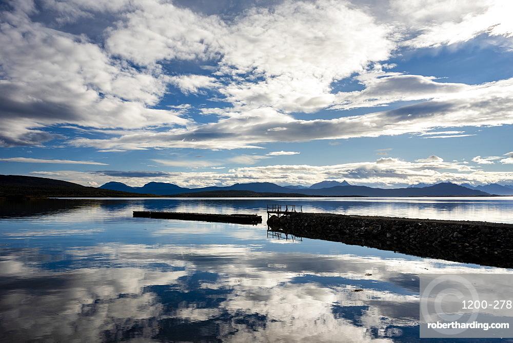Headland and lake reflection, Senja, Norway, Scandinavia, Europe