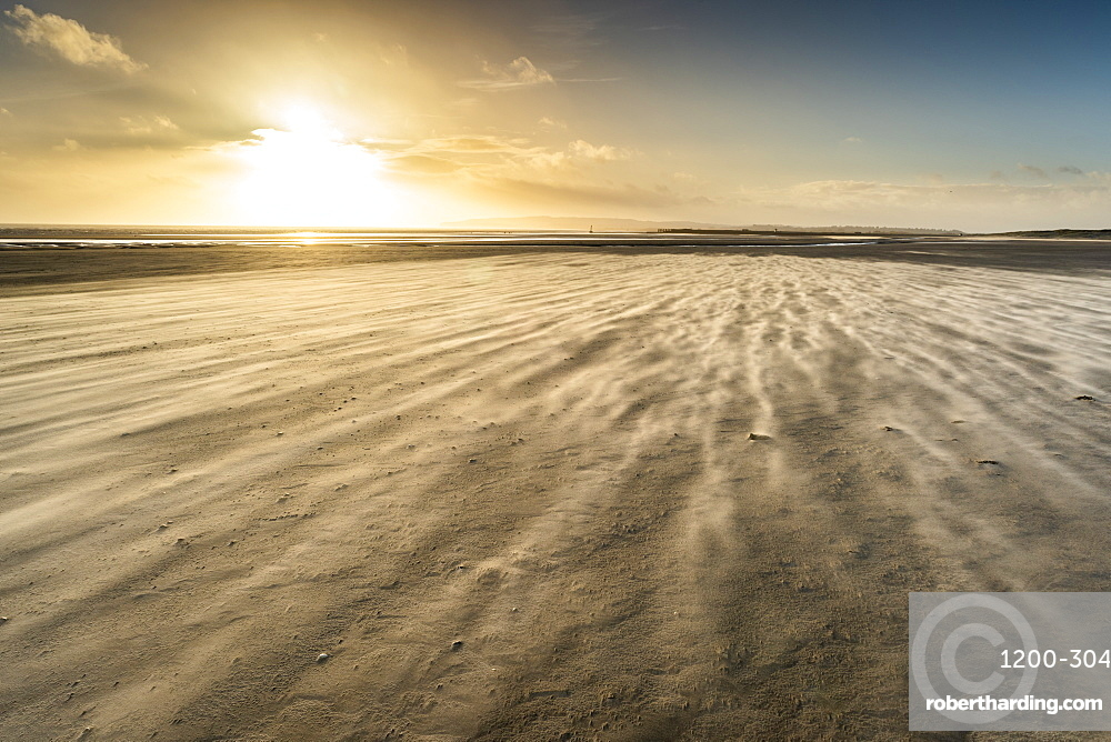 Strong winds on Camber Sands beach, East Sussex, England, United Kingdom, Europe