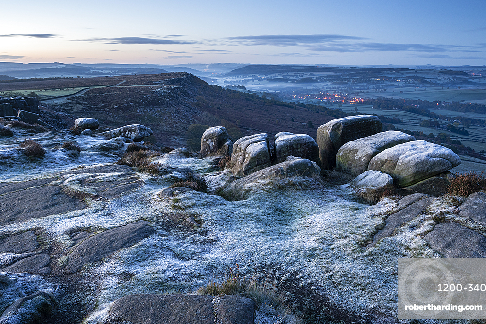 View from Curbar Edge at dawn in autumn, Peak District National Park, Derbyshire, England, United Kingdom, Europe