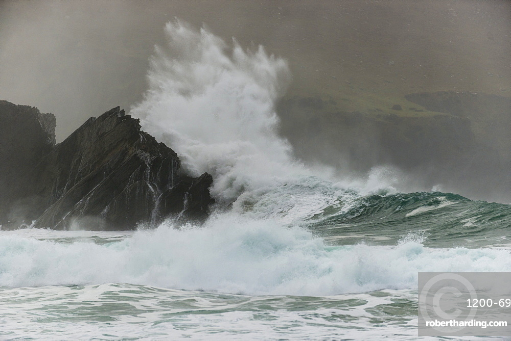 Waves crashing on rocks, Clogher Bay, Clogher, Dingle Peninsula, County Kerry, Ireland, British Isles