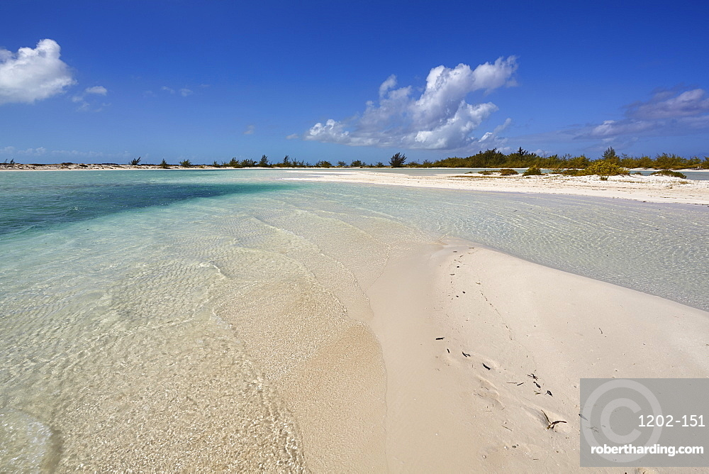 A sand bar on Water Cay, off the northern tip of Providenciales, Turks and Caicos, in the Caribbean, West Indies, Central America