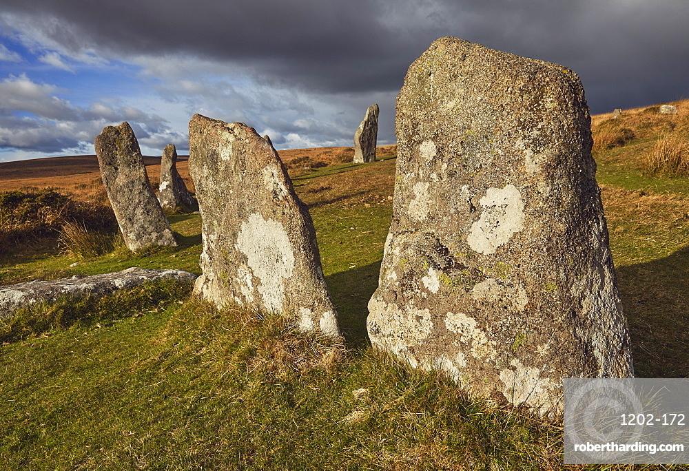 Standing stones at the prehistoric Scorhill Stone Circle, on Gidleigh Common, Dartmoor National Park, Devon, England, United Kingdom, Europe