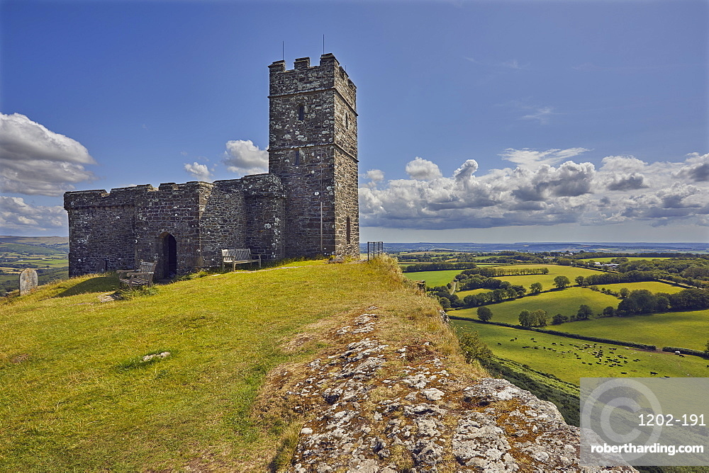 The 13th century St. Michael's Church, on the summit of Brent Tor, a major landmark on the western edge of Dartmoor National Park, Devon, England, United Kingdom, Europe