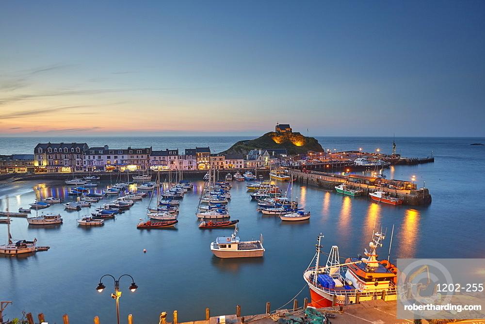 A classic dusk view of a north Devon fishing harbour at Ilfracombe, on Devon's Atlantic coast, Devon, England, United Kingdom, Europe