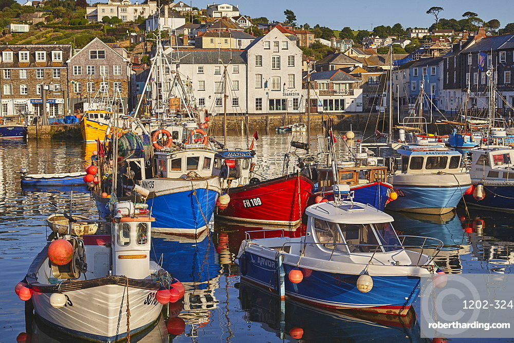 The archetypal Cornish fishing harbour of Mevagissey, near St. Austell, on the south coast of Cornwall, England, United Kingdom, Europe
