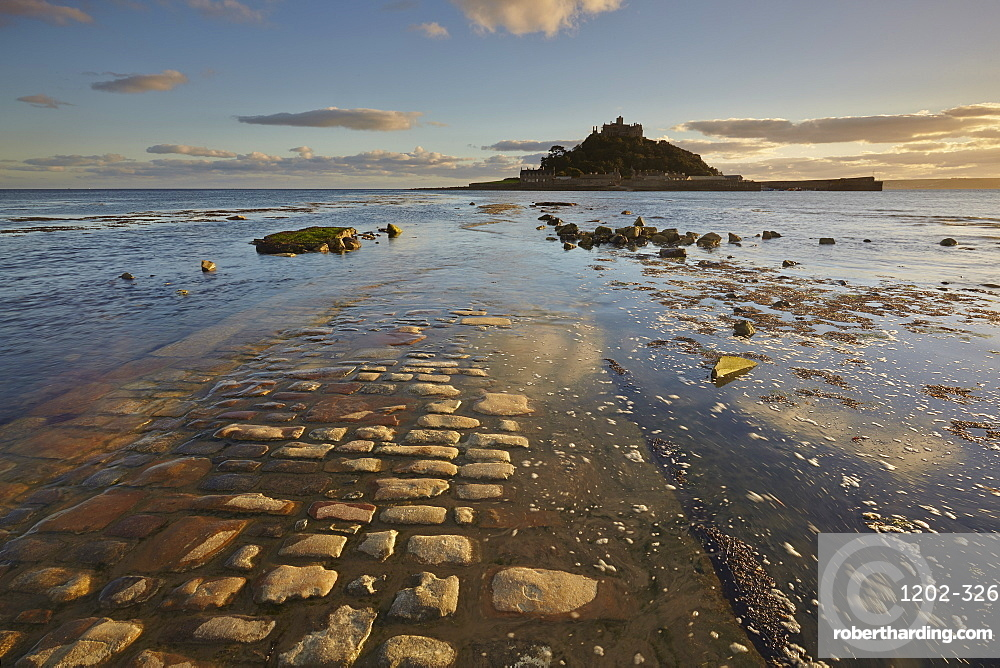 An evening view of St. Michael's Mount, one of Cornwall's most iconic landmarks, in Marazion, near Penzance, in west Cornwall, England, United Kingdom, Europe