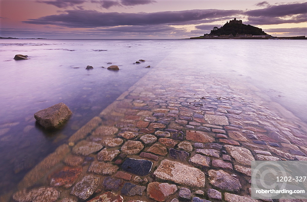 A dusk view of St. Michael's Mount, one of Cornwall's most iconic landmarks, in Marazion, near Penzance, in west Cornwall, England, United Kingdom, Europe
