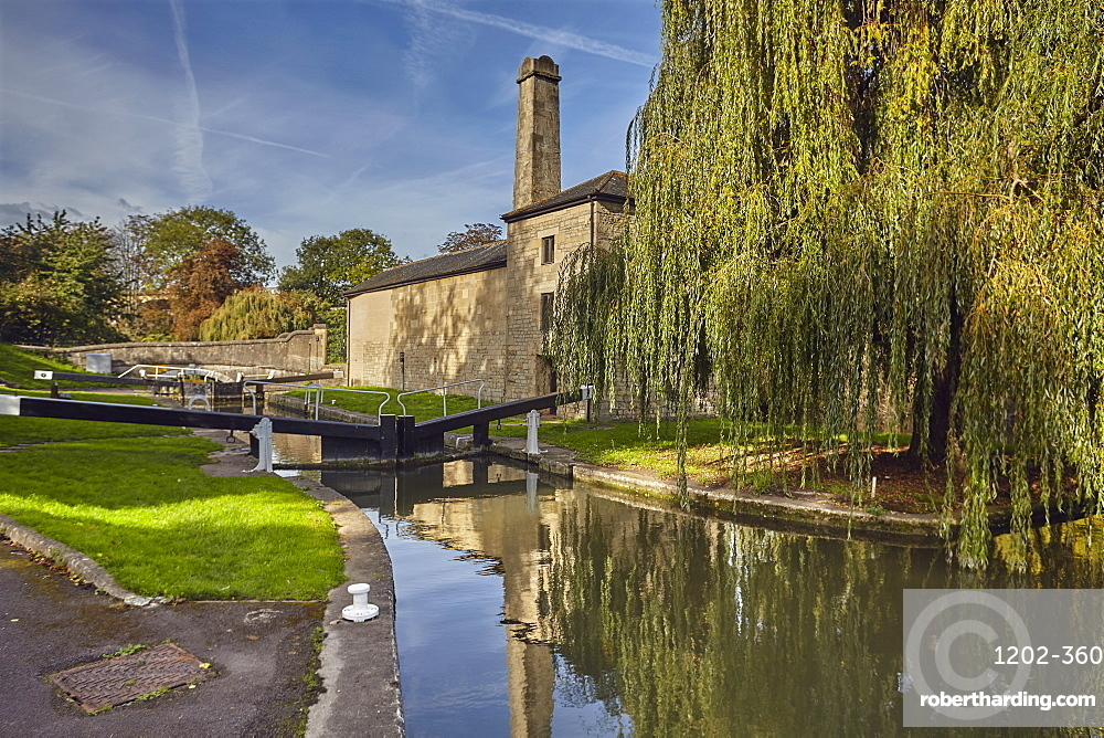 One of the first and last locks on the Kennet and Avon Canal at its junction with the River Avon, in Bath, Somerset.