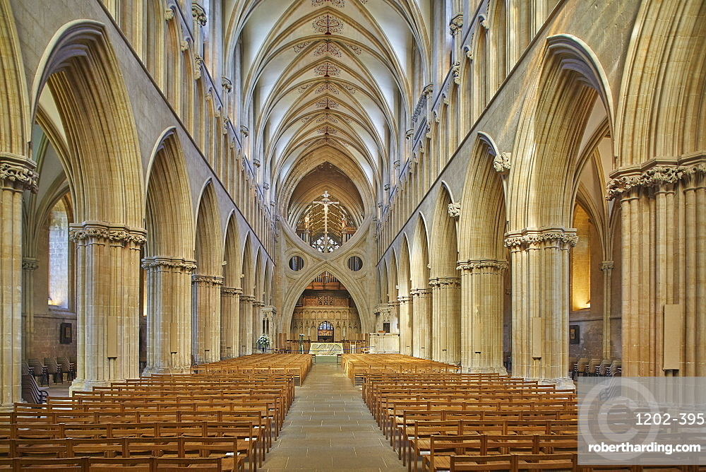 The central nave in historic Wells Cathedral, in Wells, Somerset, Great Britain.