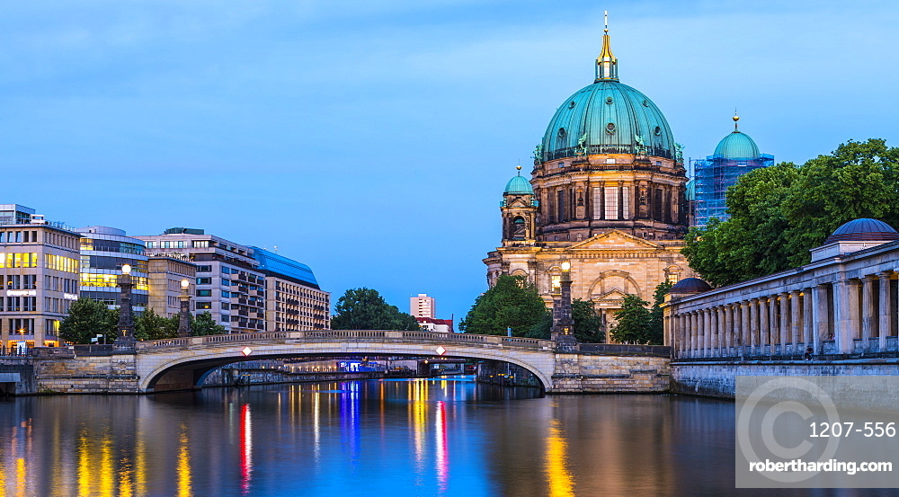 Berlin Cathedral by River Spree at night in Berlin, Germany, Europe