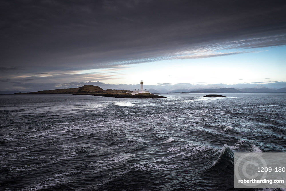 Ardnamurchan Lighthouse, Ardnamurchan Point, as seen from the Deck of the MV Isle of Arran, Highland, Scotland, United Kingdom, Europe