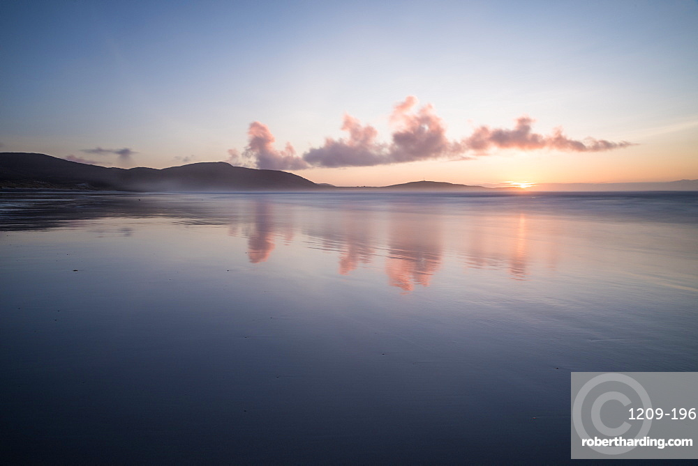 Sunset at Traigh Eais, Barra, Outer Hebrides, Scotland, United Kingdom, Europe
