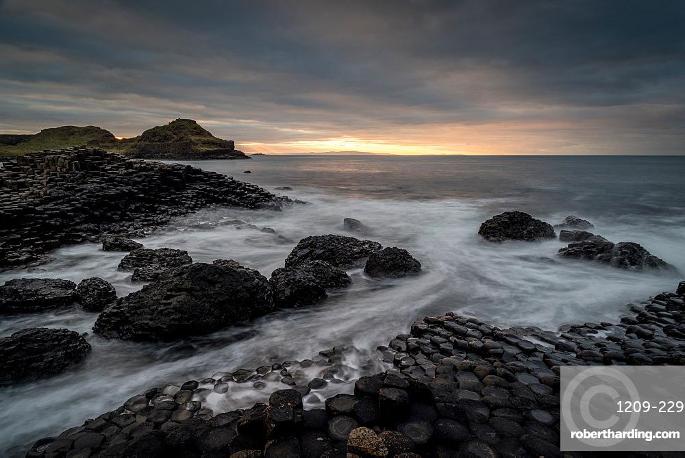Giant's Causeway at sunset, UNESCO World Heritage Site, County Antrim, Northern Ireland, United Kingdom, Europe