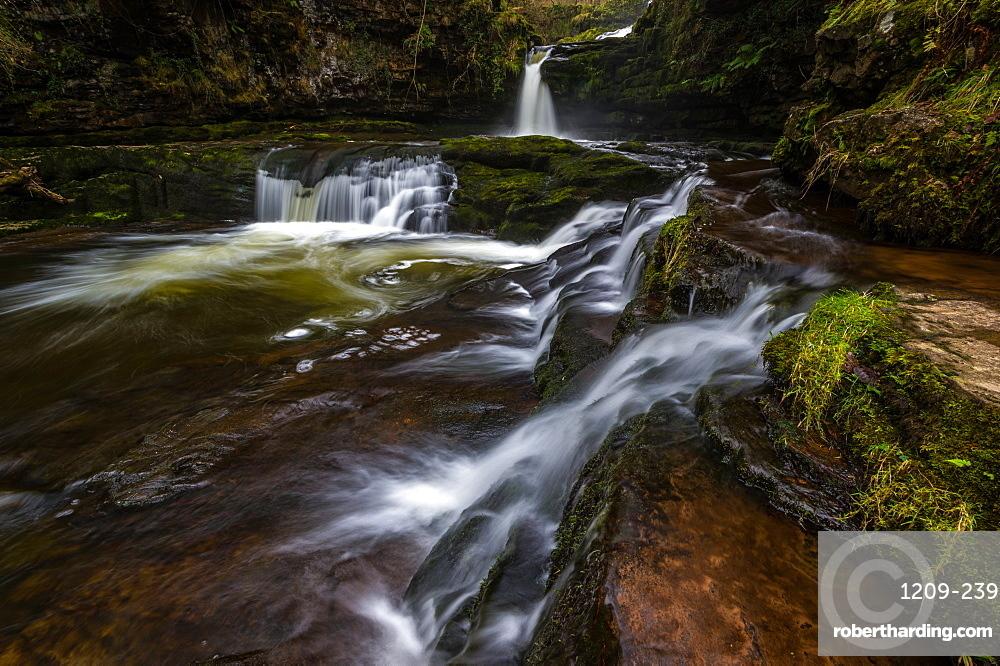 Sgwd Isaf Clun-Gwyn waterfall, Pontneddfechan, Powys, Wales, United Kingdom, Europe
