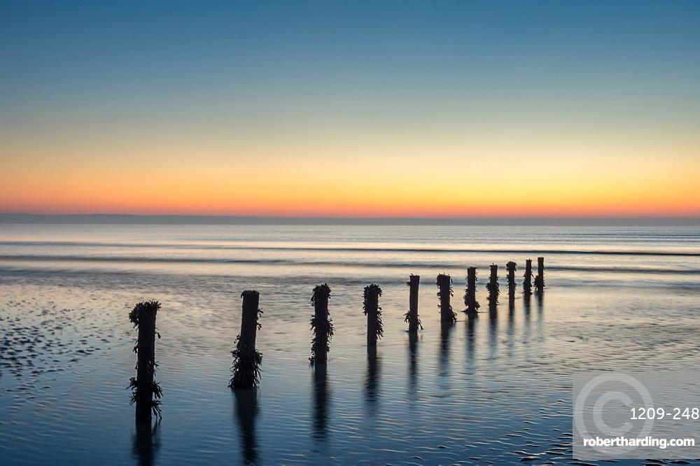 Groynes, Brean Beach, Somerset, England, United Kingdom, Europe