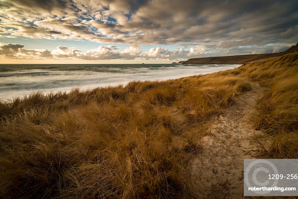 Sennen Beach in early evening, with Brissons and Cape Cornwall far distance, Sennen, Cornwall, England, United Kingdom, Europe