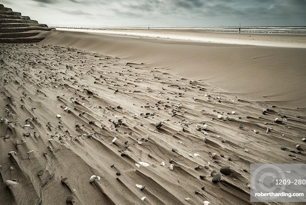 Sand patterns, Rhyl, Denbighshire, North Wales, United Kingdom, Europe