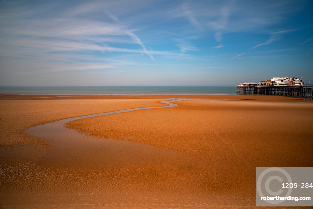 Northern Victorian Pier, Blackpool Beach, Blackpool, Lancashire, England, United Kingdom, Europe