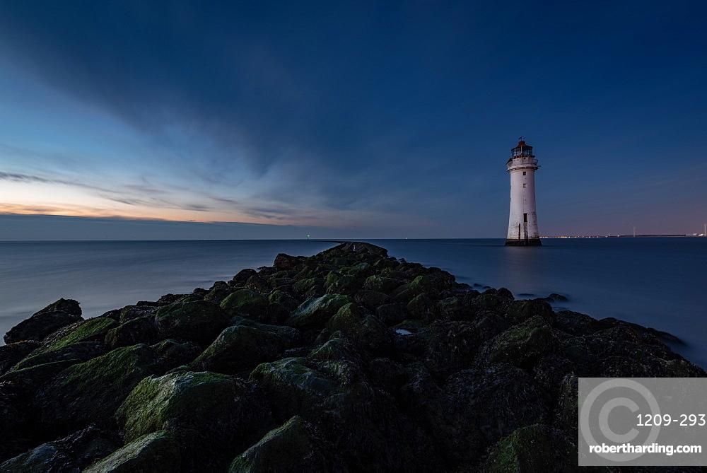 New Brighton Lighthouse at dusk, Wallasey, Merseyside, The Wirral, England, United Kingdom, Europe