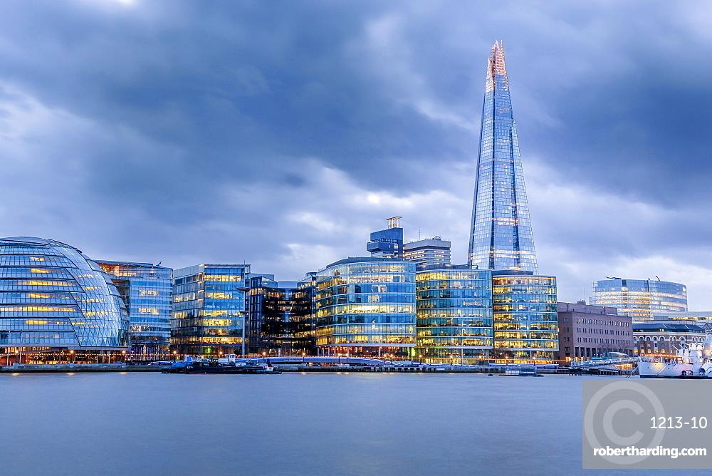 City Hall, The Shard and Bankside illuminated at night, London, England, United Kingdom, Europe