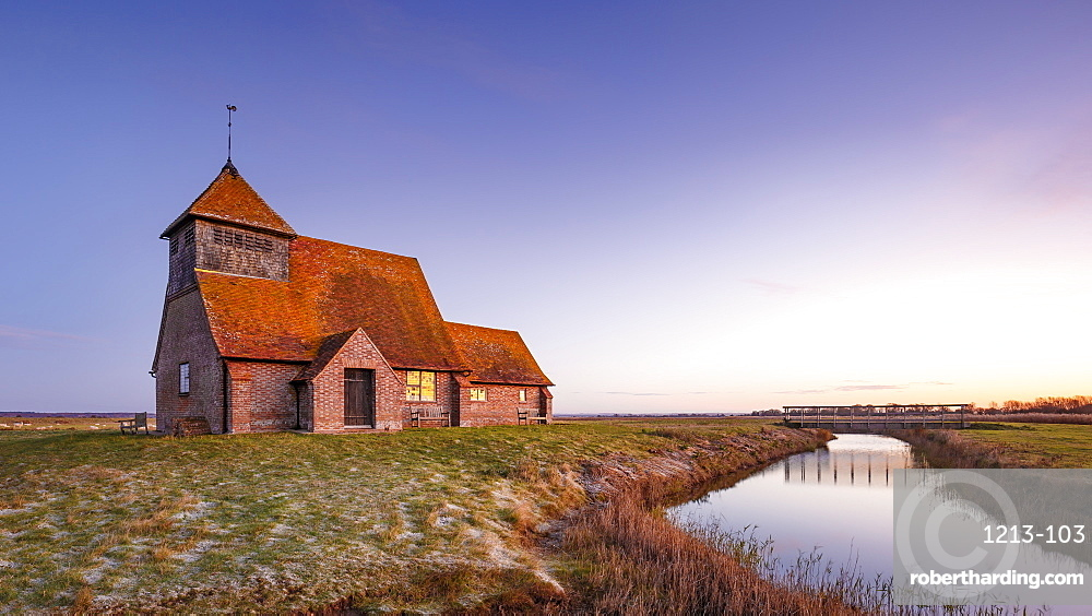 Fairfield Church (St. Thomas a Becket Church) at dawn, Romney Marsh, near Rye, Kent, England, United Kingdom, Europe