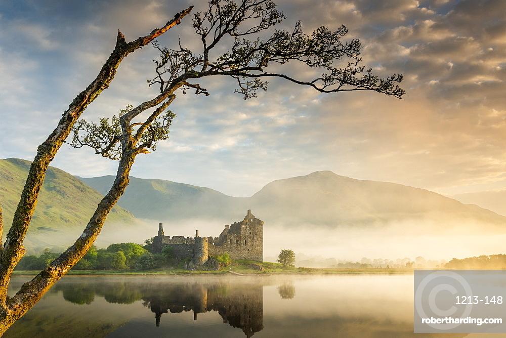 Kilchurn Castle at sunrise in Scotland, Europe