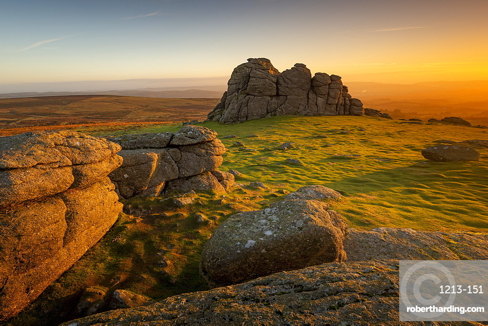 Haytor at sunrise in Dartmoor, England, Europe