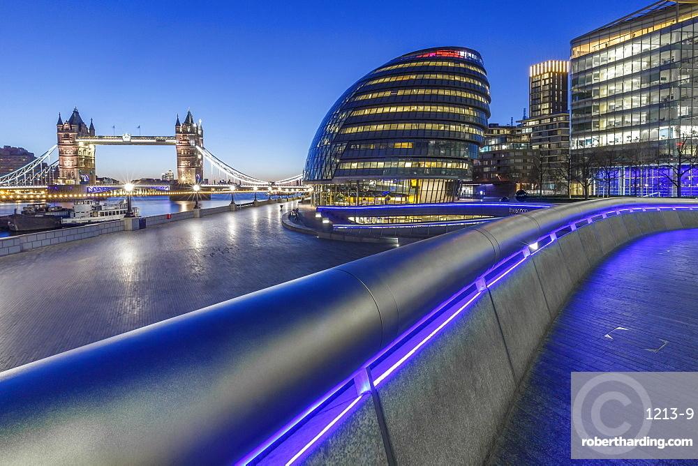 City Hall, River Thames and Tower Bridge at dawn, London, England, United Kingdom, Europe