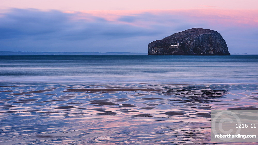 Bass Rock at sunset, Scotland, United Kingdom, Europe