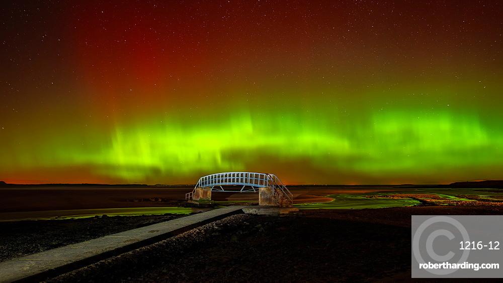 Aurora Borealis over the Bridge to Nowhere, Belhaven Bay, East Lothian, Scotland, United Kingdom, Europe