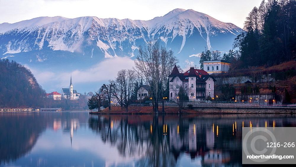 Lake Bled at sunrise, Bled, Slovenia, Europe