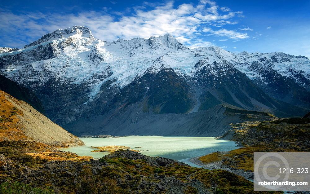 Mueller Glacier Lake, Aoraki (Mount Cook) National Park, UNESCO World Heritage Site, South Island, New Zealand, Pacific